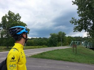 Storm clouds circled overhead and the air was heavy at times, but we never had so much as a drop of rain while we were out on the trails. The weather was just perfect for a little bike ride!